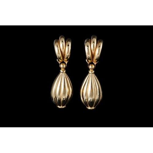56 - A PAIR OF 18CT GOLD DROP EARRINGS...