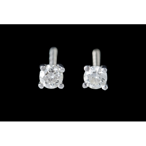 8 - A PAIR OF SOLITAIRE DIAMOND EARRINGS, of approx. 0.36ct in total...
