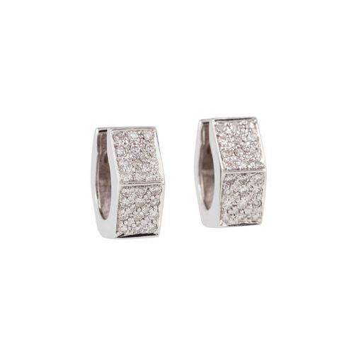 11 - A PAIR OF DIAMOND EARRINGS, mounted in 14ct white gold...