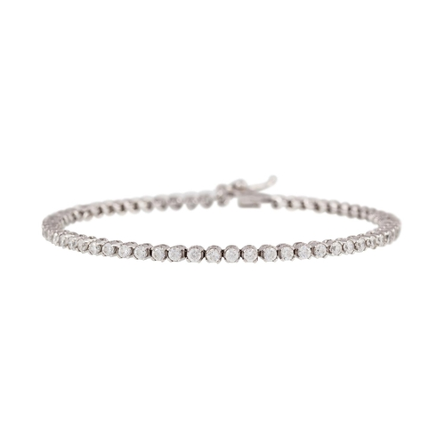 13 - A DIAMOND LINE BRACELET, of approx. 4.34ct in total, mounted in 18ct white gold...