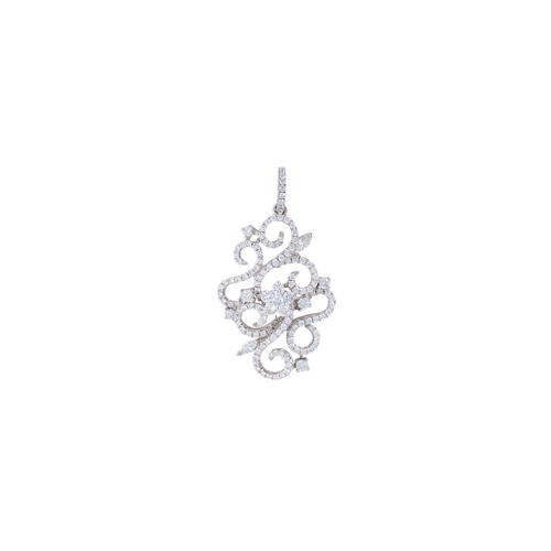 14 - A DIAMOND CLUSTER PENDANT, mounted in 18ct white gold...