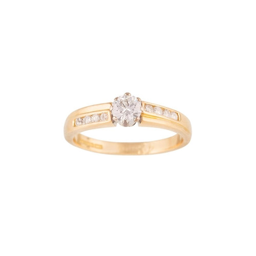 15 - A SOLITAIRE DIAMOND RING, of approx. 0.50ct, on diamond set band, mounted in 18ct yellow gold...