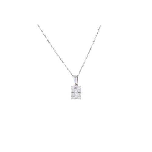 18 - A DIAMOND CLUSTER PENDANT, in 18ct white gold, on 9ct white gold chain...