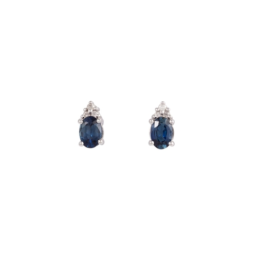 21 - A PAIR OF SAPPHIRE AND DIAMOND EARRINGS, mounted in 14ct gold...