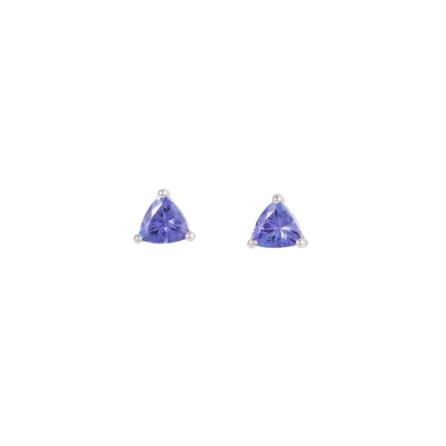 24 - A PAIR OF SOLITAIRE TANZANITE EARRINGS, mounted in 18ct gold...