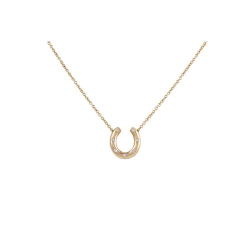 28 - A DIAMOND SET HORSESHOE PENDANT, mounted in 18ct gold...