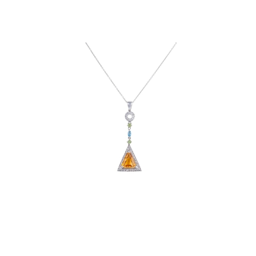 34 - A CITRINE AND DIAMOND PENDANT, mounted in white gold...