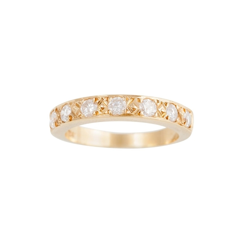 37 - A HALF ETERNITY DIAMOND RING, mounted in 18ct yellow gold, size M/N...