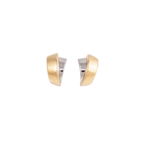 41 - A PAIR OF 18CT WHITE AND YELLOW GOLD EARRINGS...