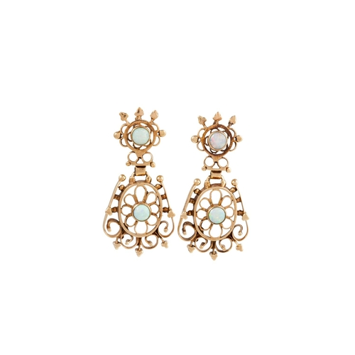 44 - A PAIR OF OPAL SET EARRINGS, mounted in 14ct yellow gold...