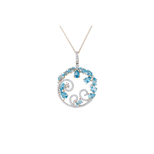 49 - A DIAMOND AND BLUE TOPAZ PENDANT, mounted in 18ct rose gold, on chain...