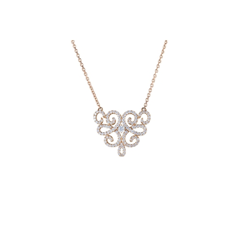 51 - A DIAMOND SET PENDANT, mounted on 18ct rose gold, on chain...