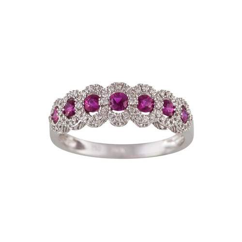 52 - A RUBY AND DIAMOND CLUSTER HALF ETERNITY RING, with rubies of approx. 0.52ct in total, diamonds of a...