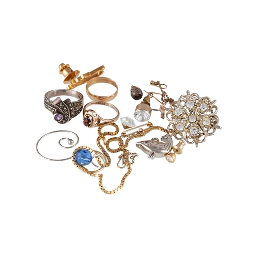 7 - A MISCELLANEOUS LOT, comprising of a 9ct gold bracelet, a gem set ring, mounted in 9ct gold, an 18ct...