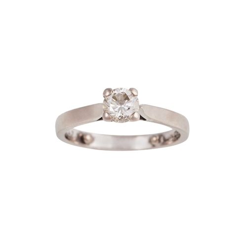 8 - A SOLITAIRE DIAMOND RING, of approx. 0.40ct J/K VS, mounted in 18ct white gold...