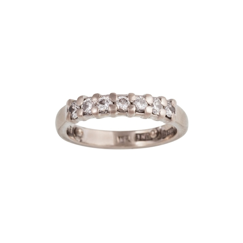 9 - A DIAMOND HALF ETERNITY RING, of approx. 0.35ct in total, mounted in 18ct white gold...