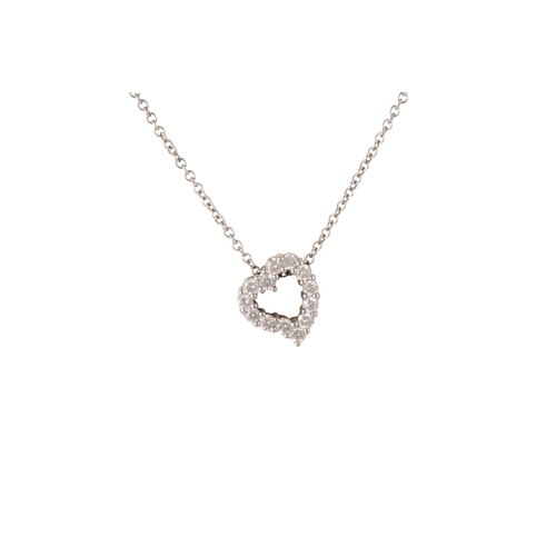 1 - A DIAMOND CLUSTER HEART PENDANT, in 18ct white gold, on chain, in Weirs box...