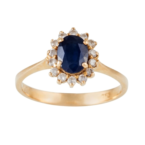 17 - A SAPPHIRE AND DIAMOND CLUSTER RING, with sapphire of approx. 0.85ct, mounted in 18ct yellow gold, s...