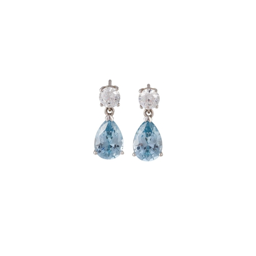 2 - A PAIR OF BLUE AND WHITE GEM DROP EARRINGS, in silver...