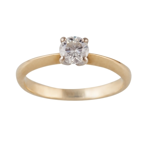 20 - A SOLITAIRE DIAMOND RING, of approx. 0.40ct G/H VS, mounted in 18ct yellow and white gold, size M...