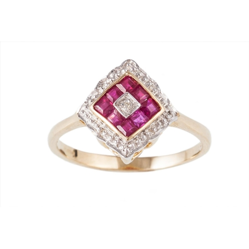 24 - A DIAMOND AND RUBY CLUSTER DRESS RING, mounted in 9ct yellow gold, size L...