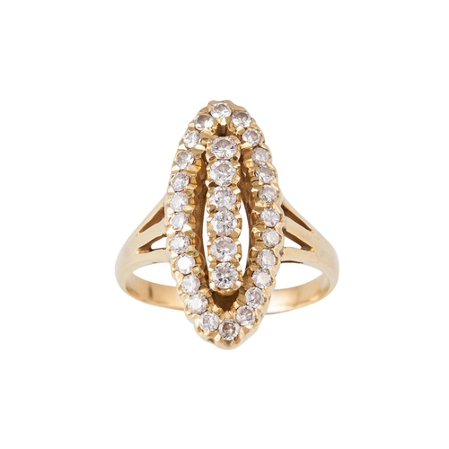 28 - A DIAMOND FINGERLINE RING, of approx. 1.31ct in total, mounted in 18ct yellow gold, size T...