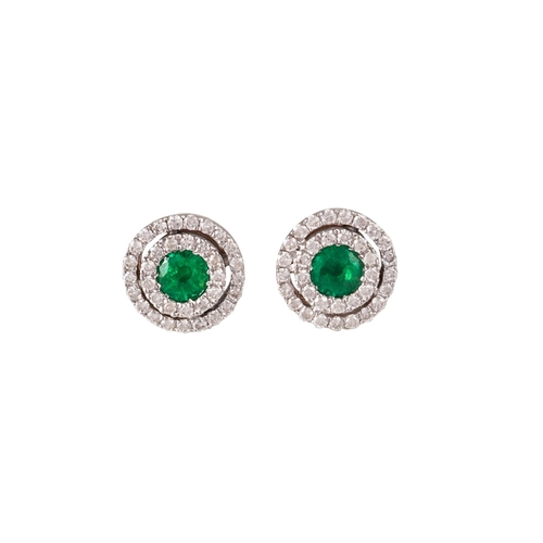 30 - A PAIR OF EMERALD AND DIAMOND CLUSTER EARRINGS, with diamonds of approx. 0.27ct in total, mounted in...