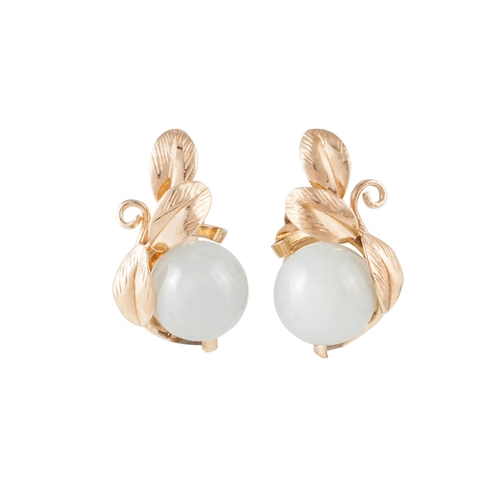 32 - A PAIR OF JADE SET CLIP EARRINGS, mounted in 14ct yellow gold...