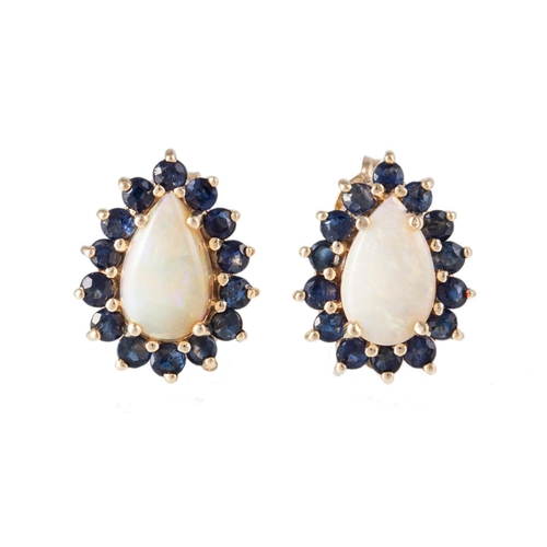 33 - A PAIR OF OPAL AND SAPPHIRE CLUSTER EARRINGS, mounted on 9ct yellow gold...