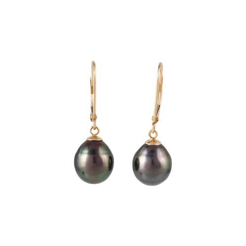 35 - A PAIR OF BLACK PEARL DROP EARRINGS, mounted in 18ct yellow gold...