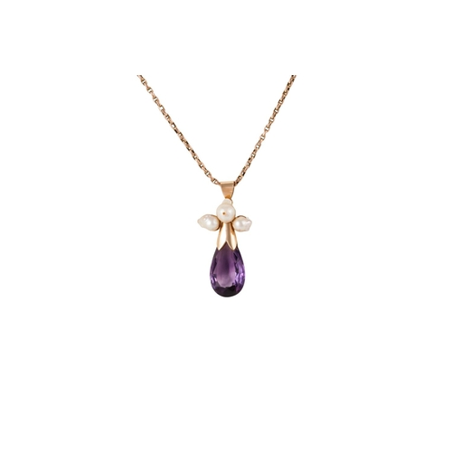 38 - AN AMETHYST AND PEARL PENDANT, on 9ct gold rolo chain of 17''...