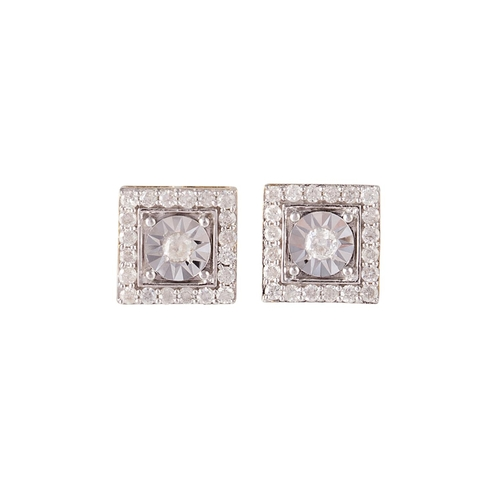 40 - A PAIR OF DIAMOND CLUSTER EARRINGS, mounted in 9ct yellow gold...