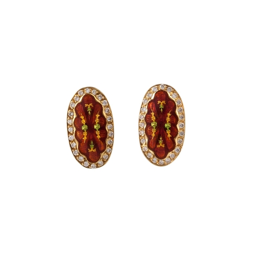 44 - A PAIR OF ENAMEL AND DIAMOND CLUSTER EARRINGS, mounted on 14ct yellow gold...
