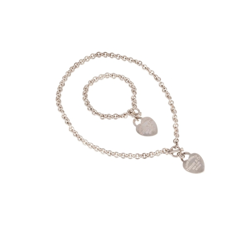 46 - A SILVER TIFFANY NECKLACE AND BRACELET, with heart padlock...