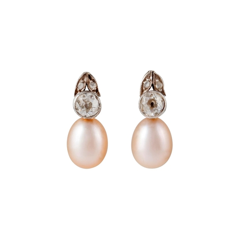 47 - A PAIR OF DIAMOND AND CULTURED PEARL EARRINGS, with old cut diamonds of approx. 0.50ct in total, wit...