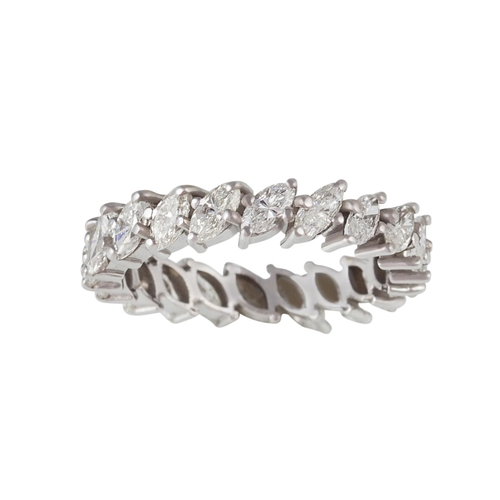 48 - A DIAMOND ETERNITY RING, with marquise cut diamonds of approx. 2.50ct in total, size M...