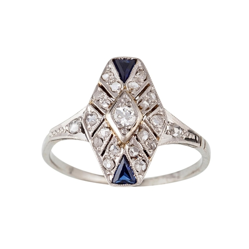 49 - A DIAMOND RING, with rose cut diamonds and blue paste, size M...