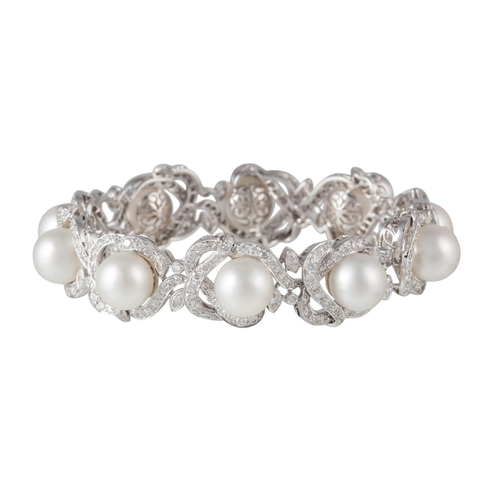 50 - A DIAMOND AND PEARL BRACELET, with 10 South Sea cultured pearls of 11.10-11.50mm, with marquise and ...