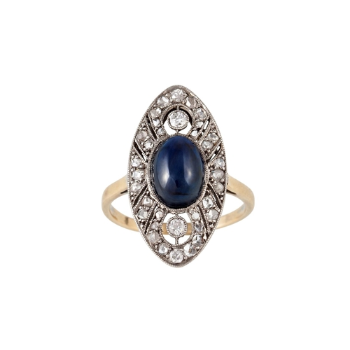 51 - A SAPPHIRE AND DIAMOND FINGERLINE RING, size N...