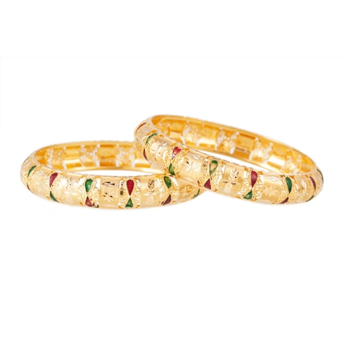 52 - TWO 22CT GOLD BANGLES, Eastern style, with bright cut and enamelled decoration...