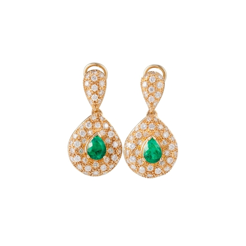 54 - A PAIR OF EMERALD AND DIAMOND DROP EARRINGS, pear shaped drops, pavé set with diamonds, mounted in 1...