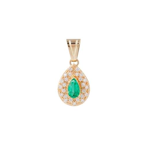 55 - A DIAMOND AND EMERALD PENDANT, pear shaped, pavé set with diamonds, mounted in 18ct yellow gold...