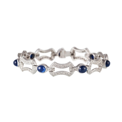 57 - A CABOCHON SAPPHIRE AND DIAMOND BRACELET, with sapphires of approx 7.80ct and diamonds of approx 3.4...