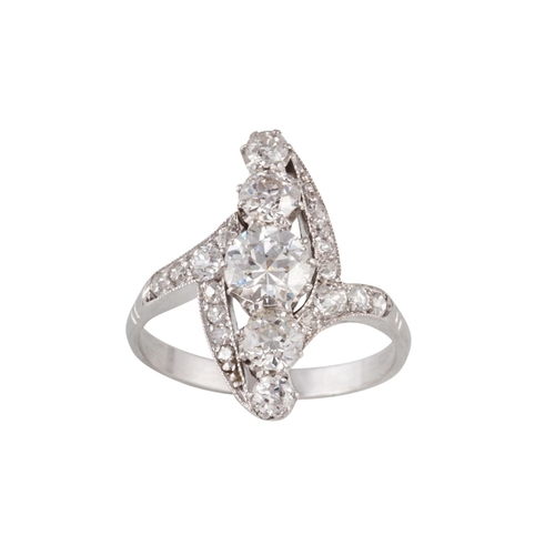 60 - A DIAMOND FIVE STONE FINGERLINE RING, set with diamonds of approx 2.15ct in total, finger size O....