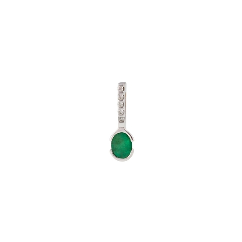 8 - AN EMERALD AND DIAMOND PENDANT, mounted in 18ct gold...
