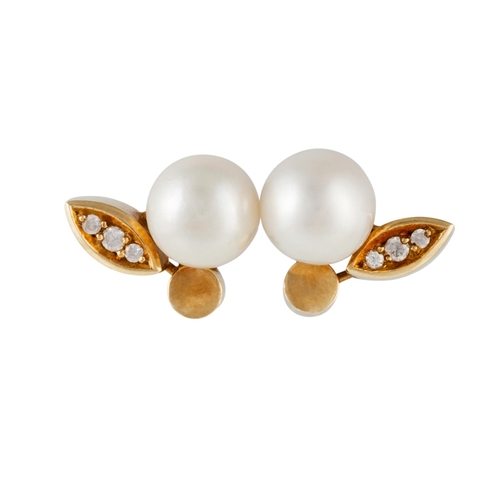 9 - A PAIR OF CULTURED PEARL AND DIAMOND EARRINGS, in 14ct gold...