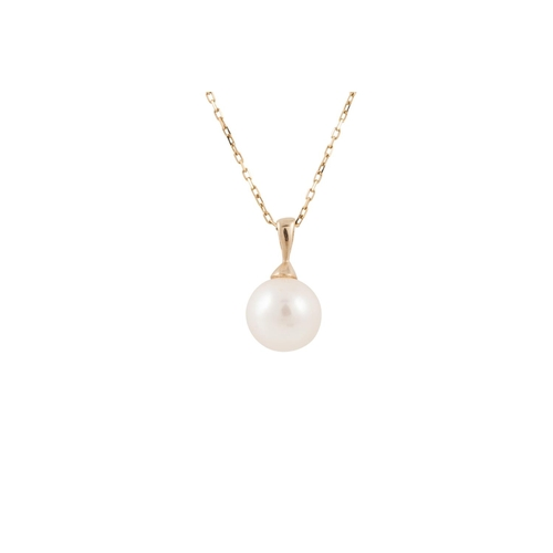 15 - A CULTURED PEARL PENDANT, mounted in 14ct yellow gold, together with a yellow gold trace chain...