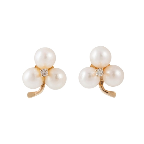 20 - A PAIR OF DIAMOND AND PEARL EARRINGS, of trefoil design, mounted in 18ct gold...