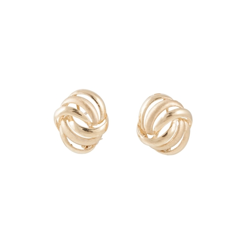 21 - A PAIR OF 9CT GOLD EARRINGS, of knot design...
