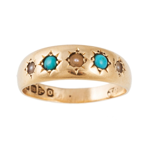 22 - AN ANTIQUE PEARL AND TURQUOISE RING, gypsy set in 18ct gold...